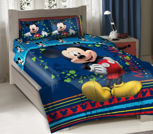 Best Price! Licensed Disney Mickey Mouse Fun Bedding Comforter Set with Fitted Sheet Twin Size