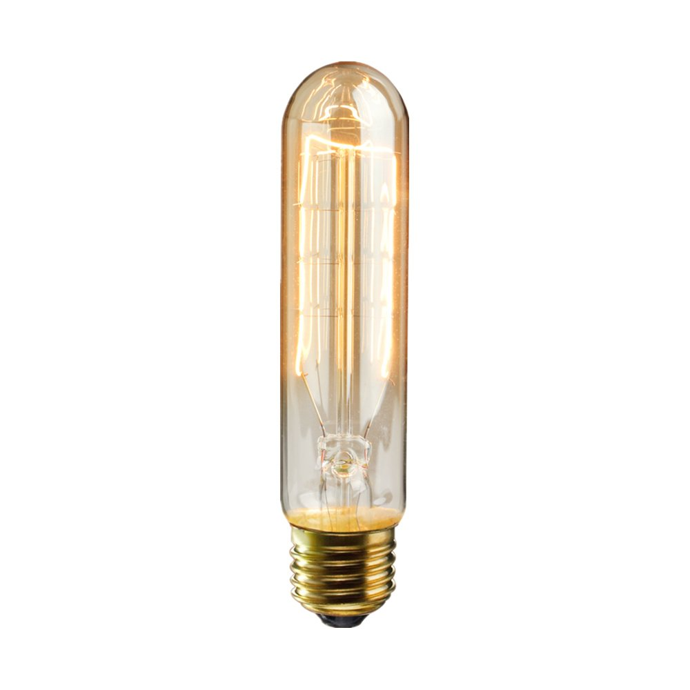 KINGSO Vintage Edison Bulbs 60W Tubular Nostalgic Filament Incandescent Antique Dimmable Light Bulb for Home Light Fixtures E27 Base T10 110V - 4 Pack 2