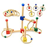 Vidatoy Popout Ring Toss Peg Quoits Target Game Wooden Toys For Kids