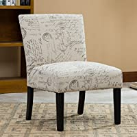 Roundhill Botticelli English Letter Print Fabric Armless Contemporary Accent Chair (White)