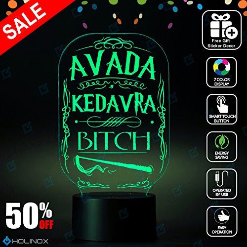 Avada Kedavra Bitch Lighting Decor Gadget Lamp + Sticker Decor for Perfect Set, Awesome Gift (MT013)