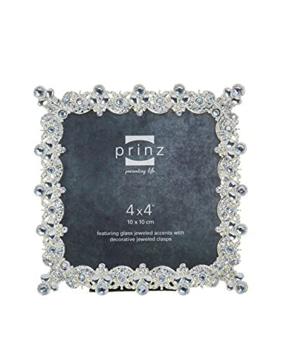 Prinz Isabelle Antique Silver Square Metal Frame, 4 x 4