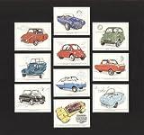 Micro & Bubble Cars - Berkeley T60, BMW Isetta, Fuldamobil, Heinkel / Trojan 200, Meadows Frisky, Messerschmitt KR, Nobel 200, Peel Trident, and Zundapp Jansus - Collectors Cards