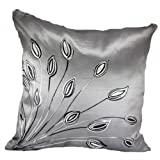 "That's Perfect!® Lotus Leaves 18""x18"" Decorative Silk Throw Pillow Cover (Silver)"