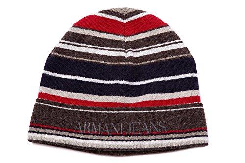 Armani Jeans cuffia berretto uomo in lana originale striped marrone EU M B6434 V2 WK