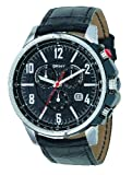 DKNY NY1325 Gents Stainless Steel Round Chronograph, Black Dial and Black Leather Strap Watch