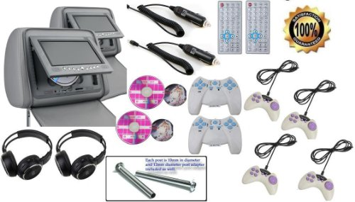 "New Pair Gray 7"" Zipper Cover Car Headrest Dvd Monitors, Wireless Dual Channel Headphones, 32 & 8 Bit Games And Controllers, And Inc. 2 Cigarette Power Adapters Free!"