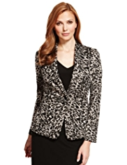 M&S Collection 1 Button Animal Print Ponte Jacket