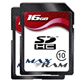 Twin Pack 16GB MaxRam SD SDHC Memory Card for Canon EOS 1100D/600D/Rebel T3, Canon IXUS 220 HS, Canon PowerShot A3300 IS/SX220 HS, Fujifilm FinePix S2950, GoPro HD Helmet HERO, GoPro HD HERO 960, GoPro HD Motorsports Hero, GoPro Motorsports Hero Wide, Ni
