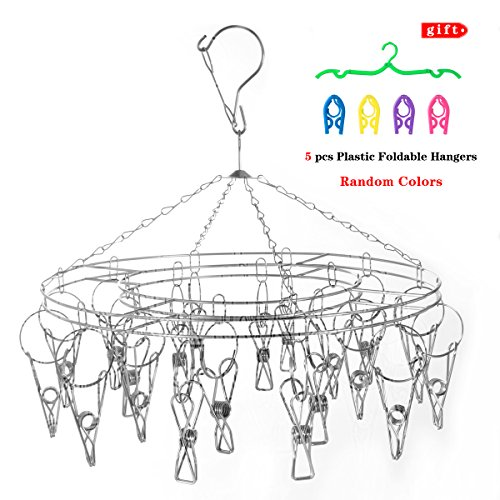 STSTECH Clothesline Drying Hanging Rack with 20 Clips Stainless Steel Round+5pcs Plastic Foldable Travel Hangers(Gift) (Travelling Clothes Rack compare prices)