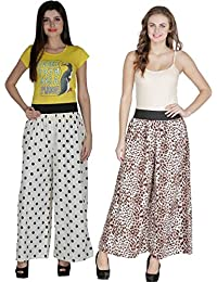 Shoping Fever - Designer And Stylish Womens Plazzo - Combo Pack (Animal Colour And Polka Dots) - White And Brown