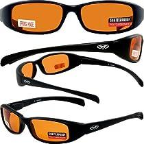 NEW ATTITUDES - Stylish Sunglasses - Orange Lenses, MATTE Black Frame