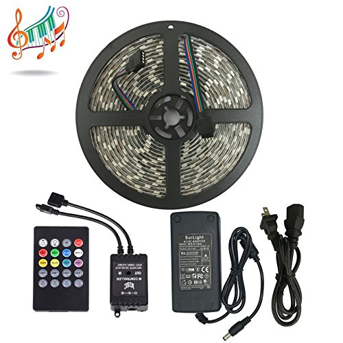 Music Controlled LED Strip Light, SurLight Waterproof 16.4ft/5M 300LEDs RGB SMD5050 Flexible Color Changing Light Strip Kit with 20 Key IR Music Controller & 12V 5A Power Supply for Indoor Outdoor Use (Led Light Strips Music compare prices)