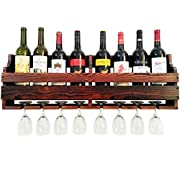 TUORUI Wine Rack Wall Mounted,Wine Glass & Wine Bottle Display Rack,pine wood,8 Bottle 8 Long Stem Glass Holder(Charcoal walnut color)