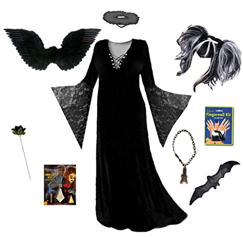 Women's Dark Fairy Angel Plus Size Supersize Halloween Deluxe Wig Costume Kit