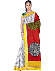Aadarshini Women's Raw Silk Saree (110000000463, Off White & Red)