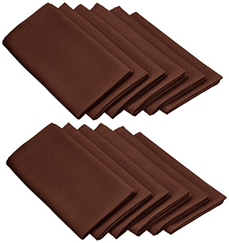 LinenTablecloth 20-Inch Polyester Napkins (1-Dozen) Chocolate (Chocolate Brown Napkins compare prices)