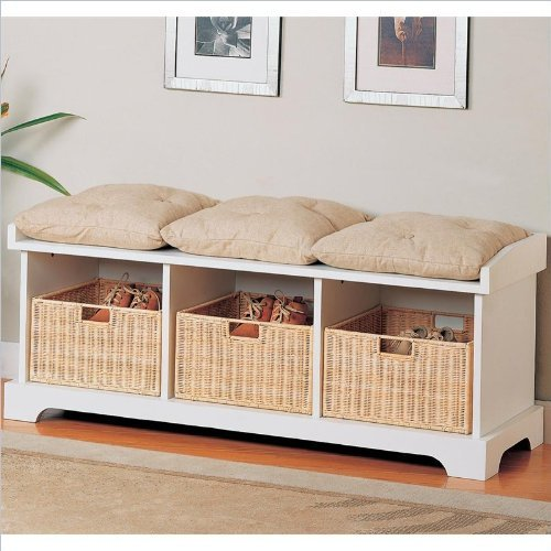 Black Friday White Finish Wood Country Style Bedroom Hall Bench With Storage Baskets Cheap