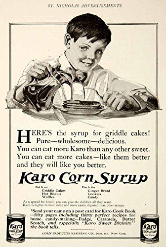 1909-ad-vintage-karo-corn-syrup-griddle-cakes-pancakes-stack-boy-eating-ysn2-original-print-ad