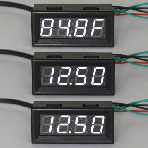 DROK 100136 12 Volt DC Car Digital Electric Clock Fahrenheit °F Temperature Voltage Measurement White LED Gauge Panel Meter 18B20 Sensor Probe (Car Led Digital Clock compare prices)