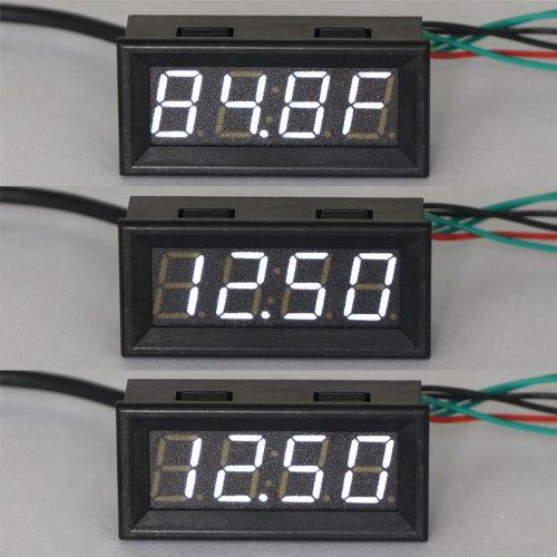 DROK 100136 12 Volt DC Car Digital Electric Clock Fahrenheit °F Temperature Voltage Measurement White LED Gauge Panel Meter 18B20 Sensor Probe (Led Automotive Clock compare prices)