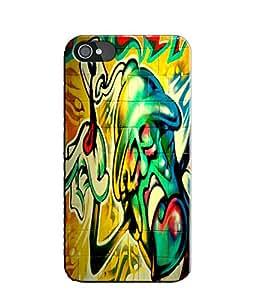 EU4IA Monster Graffiti Pattern MATTE FINISH 3D Back Cover Case For iPhone 4 -...