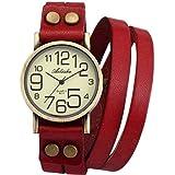 Ailisha Vintage Lady Women Korea Style Red Wrap Leather Strap Bracelet Bangle Watch WAA388