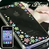 iPhone4用 豪華スワロフスキーiPhone4ケース(Aタイプ・花柄ミックス)