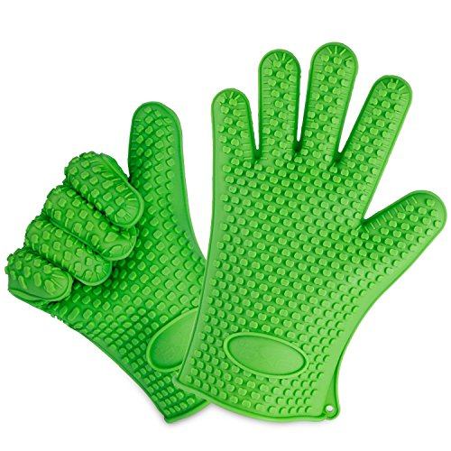 OXA Silicone Heat Resistant BBQ Grill Oven Gloves for Cooking, Baking, Smoking & Potholder, Set of 2, Heat Resistant Up To 425 Degrees Fahrenheit (Heat Cooking Gloves compare prices)