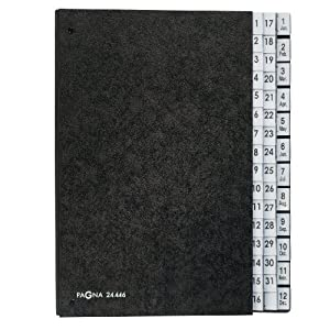 Pagna 1-12 and 1-31 Expanding Organiser - Black