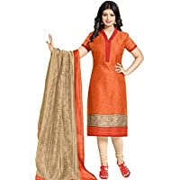 M Fab Ethnic Printed Orange And Peach Puff Pc Cotton Free Size Straight Chudidar Salvar Suit Dress Material