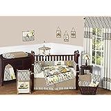 Safari Outback Animal Jungle Monkey, Owl, Zebra and Bear Baby Boy Bedding 9 Piece Ikat Crib Set