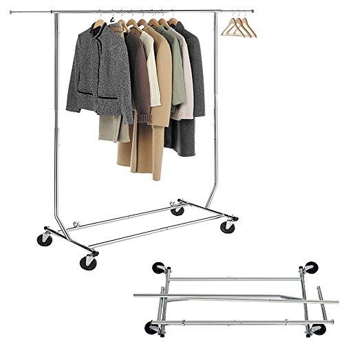 Seelux-Industrie-Kleiderstnder-auf-Rollen-80kg-ausziehbar-zusammenklappbar-Hhenverstellbar