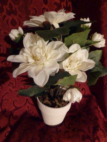 REDUCED Artificial Flowers - White Cream Dahlia Artificial Plant in a 10cm Round Ceramic Pot - 34cm High