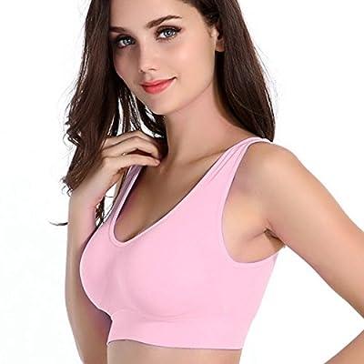 Sport BH Yoga Bustier Top Bra Unterwaesche ohne Buegel Figur Rosa