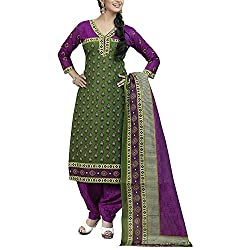 Varsha 701 Pure Cotton Green Suit With Duppatta