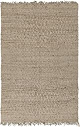 Beige Jute Rug Transitional Design 3-Foot x 5-Foot Jute Handwoven Boucle Carpet Solid Carpet