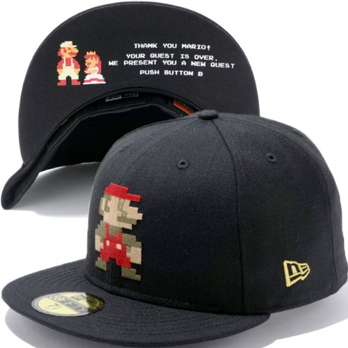 Super Mario Bros.×New Era スーパーマリオブラザーズ×ニューエラ 5950キャップ マリオロゴ ブラック メタリックゴールド
