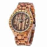 フーポット 木製腕時計 檀木 ウッドウォッチ ブランド 高品質 彫刻 ユニセックス カジュアル 人気ファション腕時計 人気 贈り物 誕生日プレゼント (イエロー)