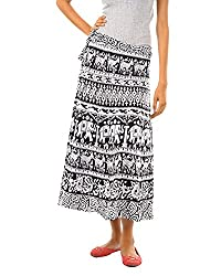 Fashiana Women's Cotton Wrap-around Skirt (FSKT094KT_Free Size_Black & White)