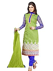 Fashion Queen Presents Green Colored Unstitched Dress Material