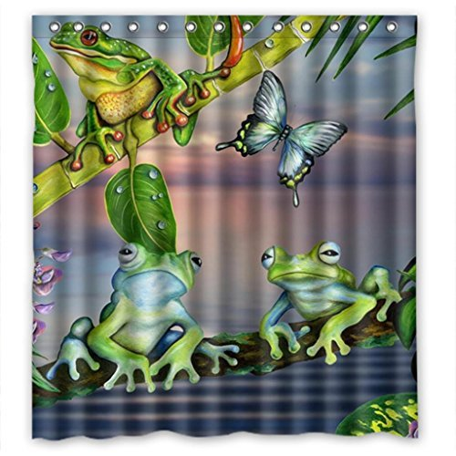 Cartoon Butterfly and Frog  Fabric Bathroom Shower