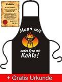 Lustige Grillschürze mit Urkunde: Mann mit Grill sucht Frau mit Kohle! (Schürzenfarbe: Schwarz)