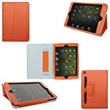 511s4FaGw5L. SL160  ProCase (TM) ipad mini case Slim Leather Folio Case for Apple iPad mini 7.9 inch Tablet, built in Flip Stand, elastic hand strap and stylus loop, w/ sleep / wake feature (Orange)