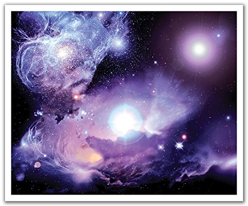 JP London Peel and Stick Removable Wall Decal Sticker Mural, Cosmic Galaxy Purple Nebula, 24 by 19.75-Inch (Cosmic Wall Decals compare prices)