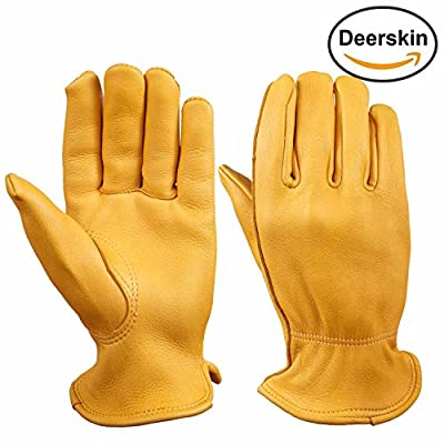 Gardening Gloves, OZERO Grain Deerskin Leather Farming Glove for Yard Work, Carpentry, Driving, Shooting - Extremely Soft and Perfect Fit - Durable Gunn Cut and Keystone Thumb (Gold/Black, M/L/XL)