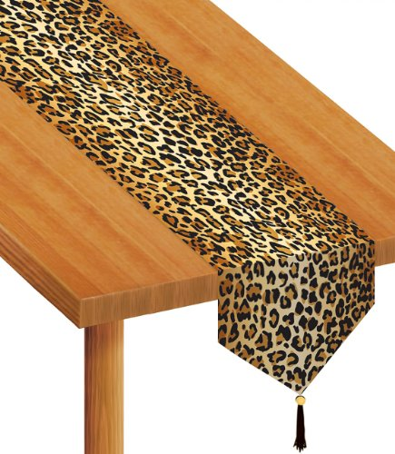 Beistle 57848 printed leopard print table runner 11 inch for 11 inch table