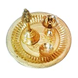 Uncommon Stuffs Brass Pooja Thali Set (4 Piece)