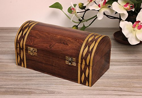 Beautiful Christmas Holiday Gifts Wooden Handcrafted Storage Chest Box & Brass Inlay
