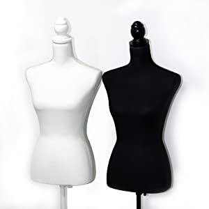 Female Mannequin Torso Body Dress Form with White Adjustable Tripod Stand for Clothing Dress Jewelry Display, White (Color: All White)